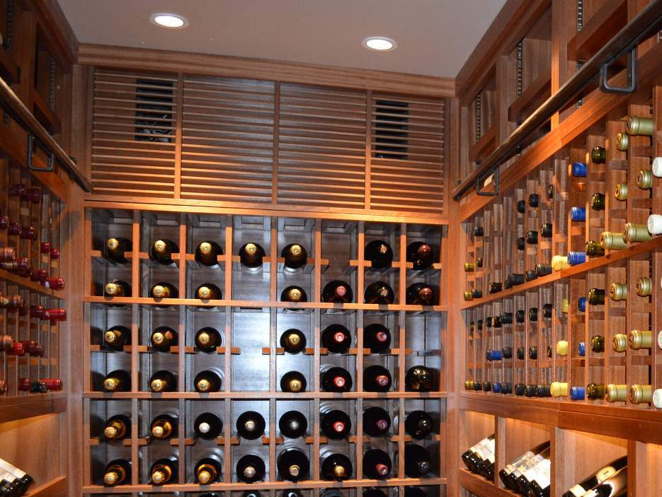 Wine-Cellar-Cooling-Unit-Evaporator-Concealed-within-the-Racking