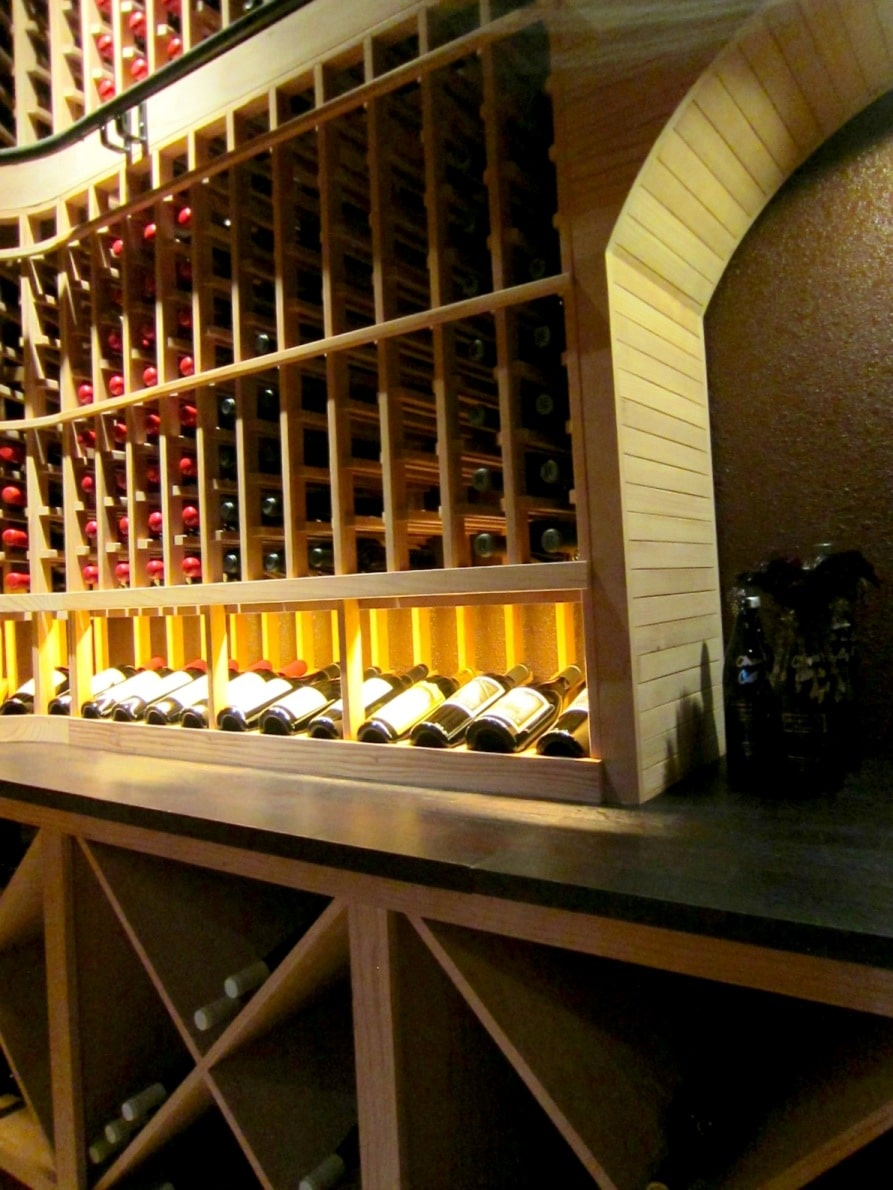 left  front custom wine racks Texas residential wine  cellar