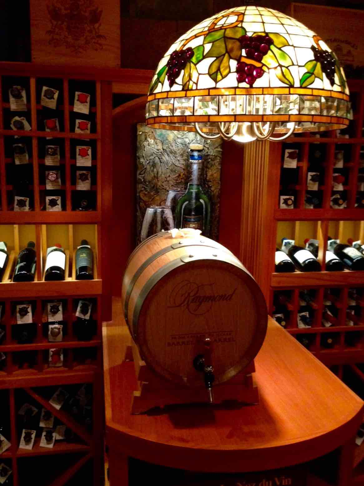 Chicago Basement Wine Room - Tabletop and Wine Barrel