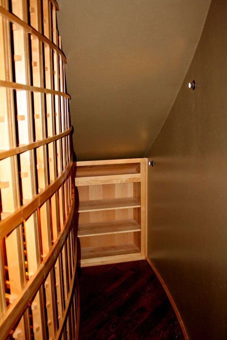 Knotty Alder Racking Right End Wall Texas Home Wine Cellar