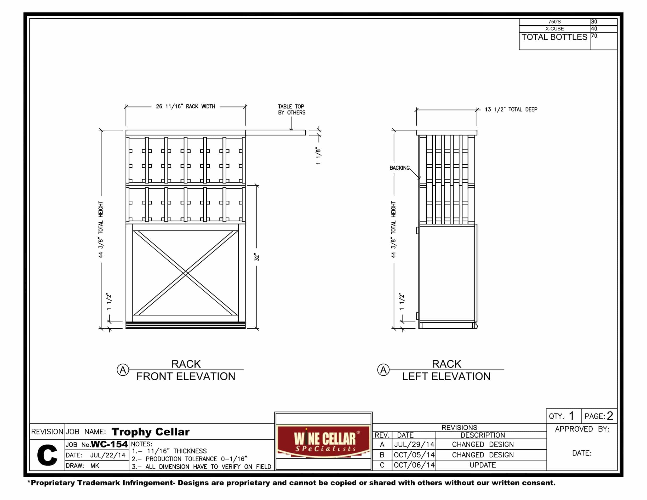 Texas Residential Custom Wine Cellar Rack Front Elevation