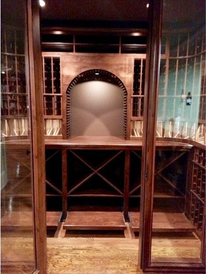Custom Wine Cellar with Rolling Case Storage