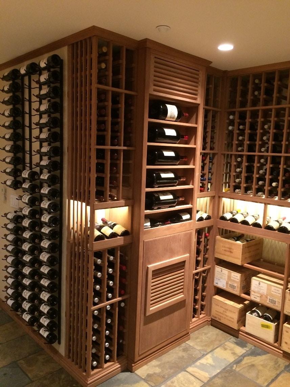 Modern Wine Cellar Houston Wine Racking in Custom Sapele Wine Cellar