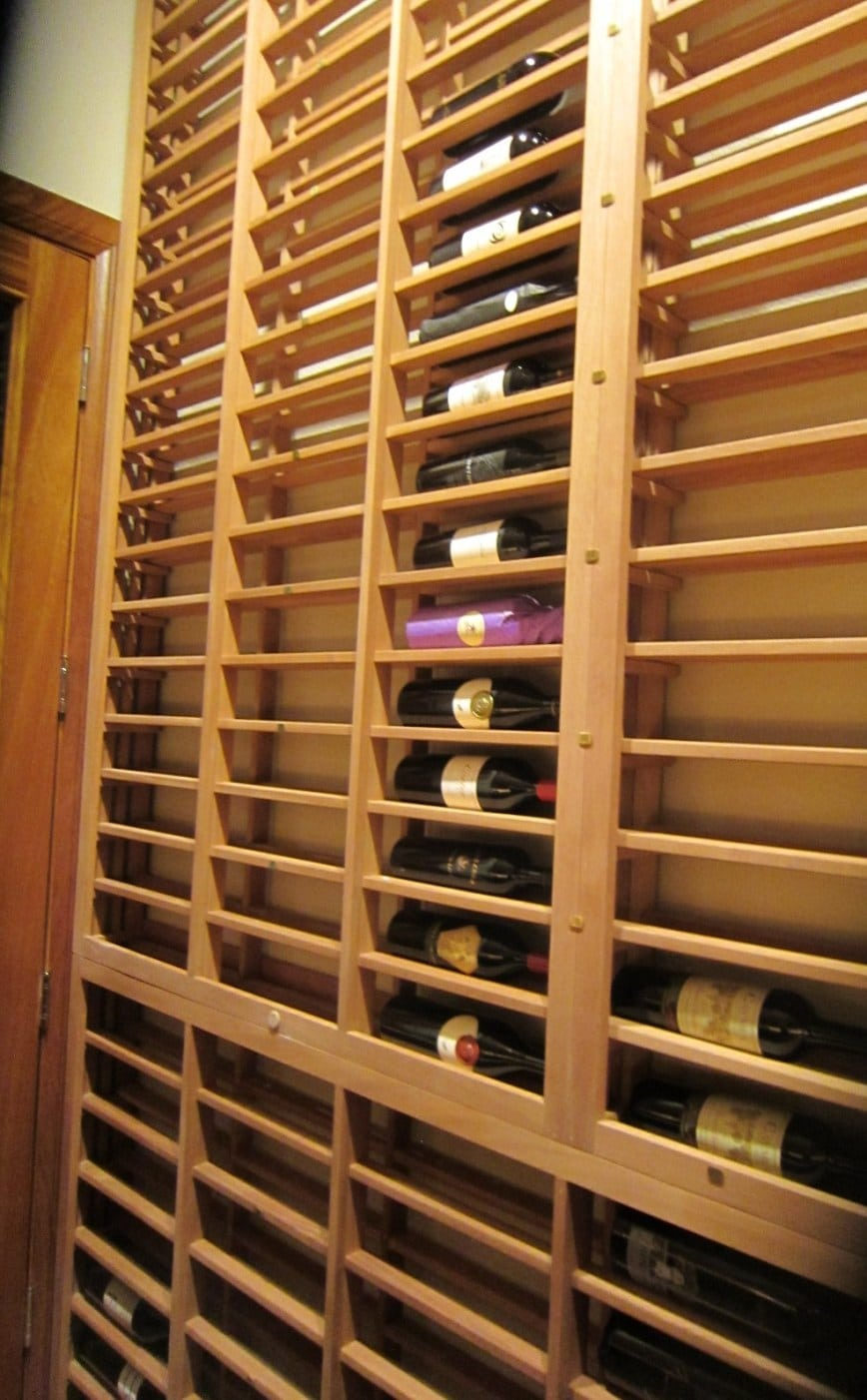 Left Wall Lattice Horizontal Racking Staircase Wine Cellar Houston