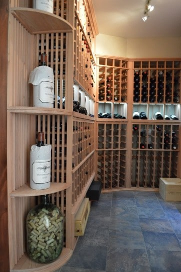Wooden Custom Wine Rack System Created by Houston Wine Cellar Specialists for a Residential Home