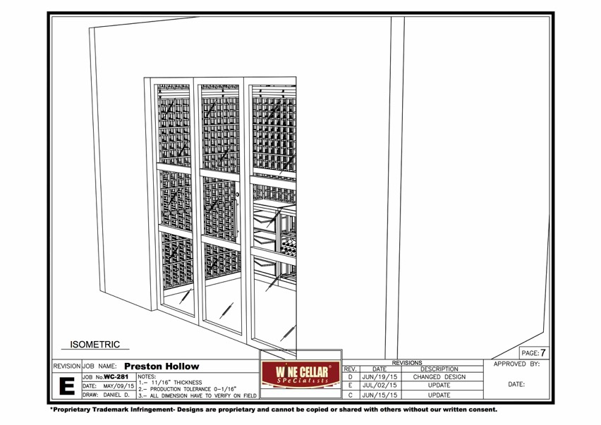 CAD Drawing Custom Wine Cellar with an Efficient Cooling Unit