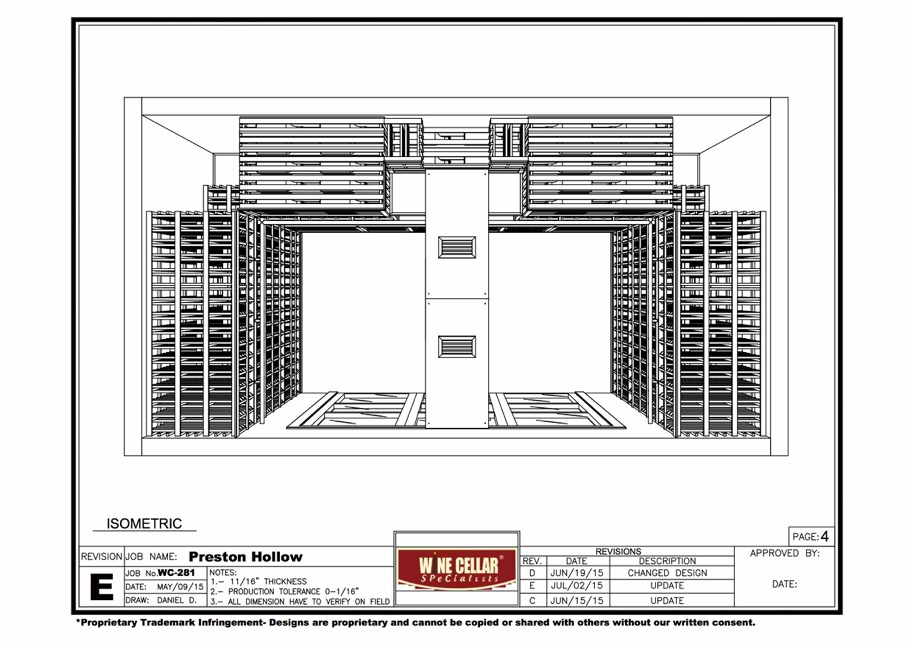 Overhead View of the Compeleted Custom Wine Cellar Houston
