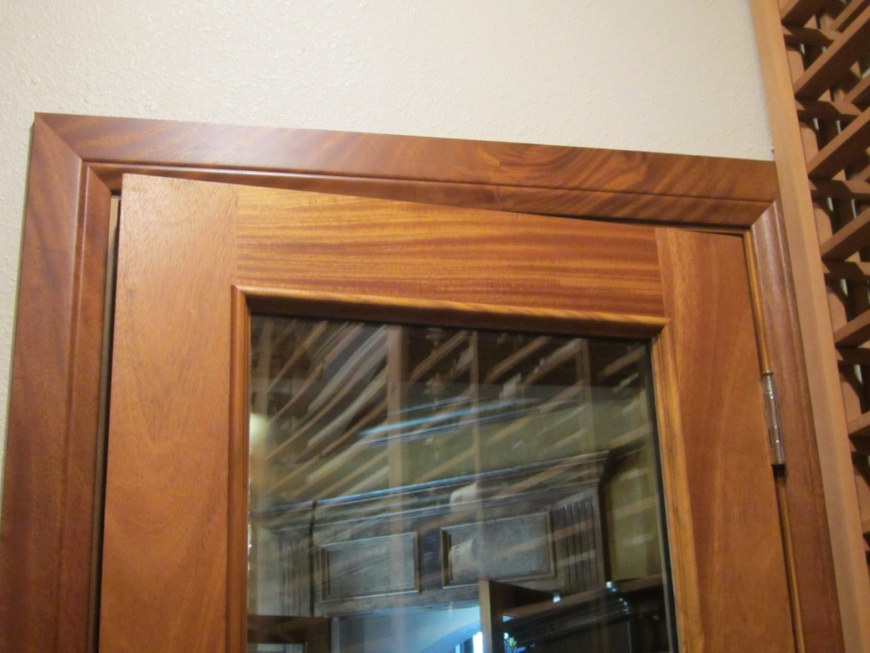 Barolo Glass Wine Cellar Door with Wheat Stain and Lacquer on Sapele Mahogany