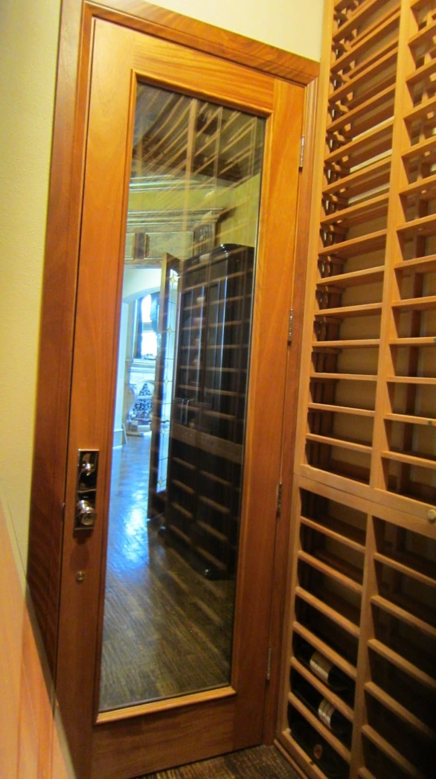 View of the Wine Cellar Door from Inside of Houston Wine Cellar