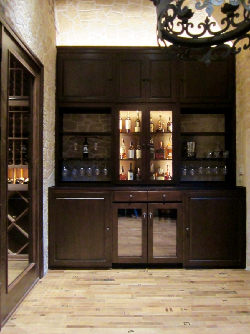 Home Bar Area Texas Custom Wine Cellar Installation