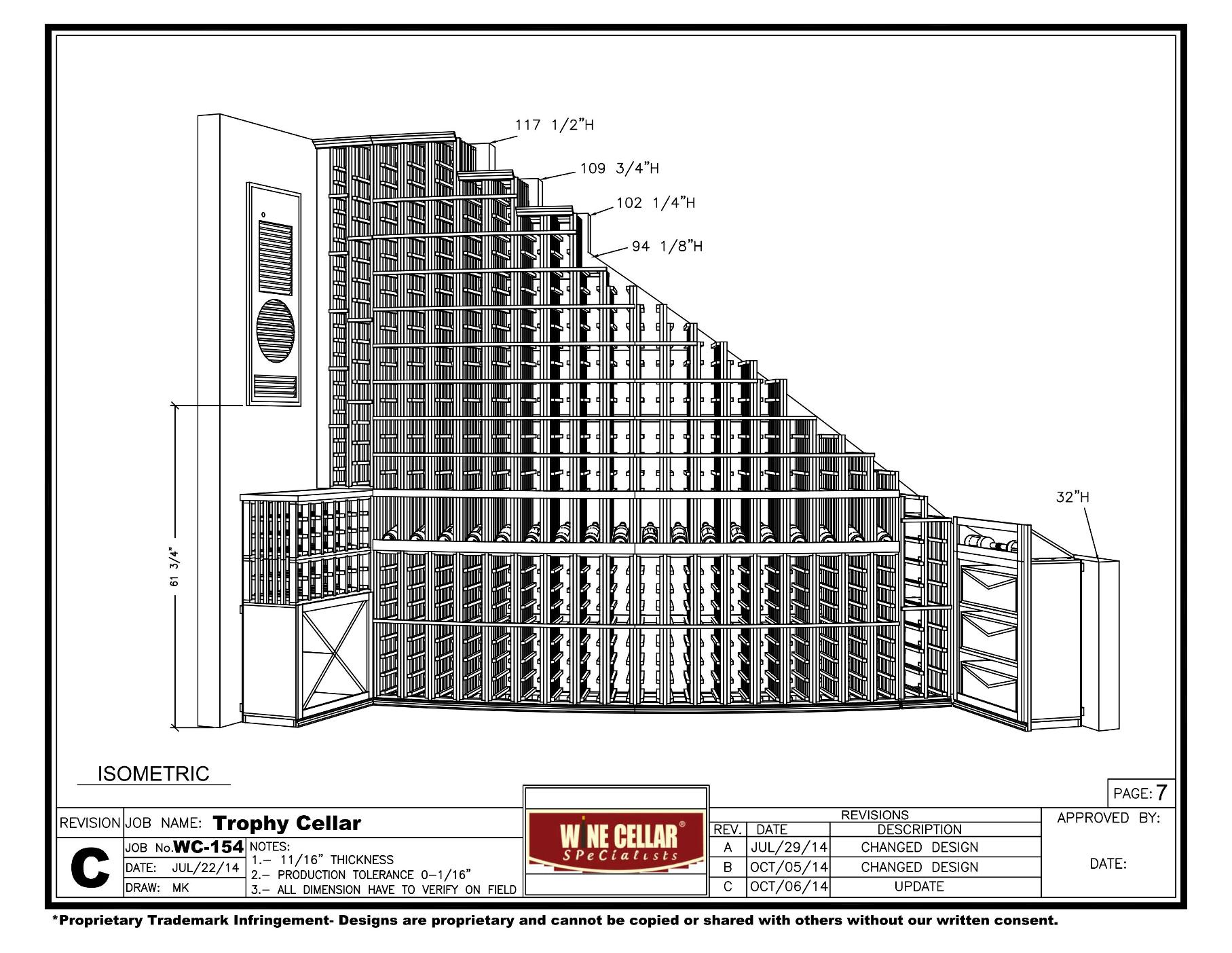 Texas Custom Wine Cellar Drawing Isometric Front View