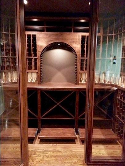 Custom Wine Cellar with Rolling Case Storage