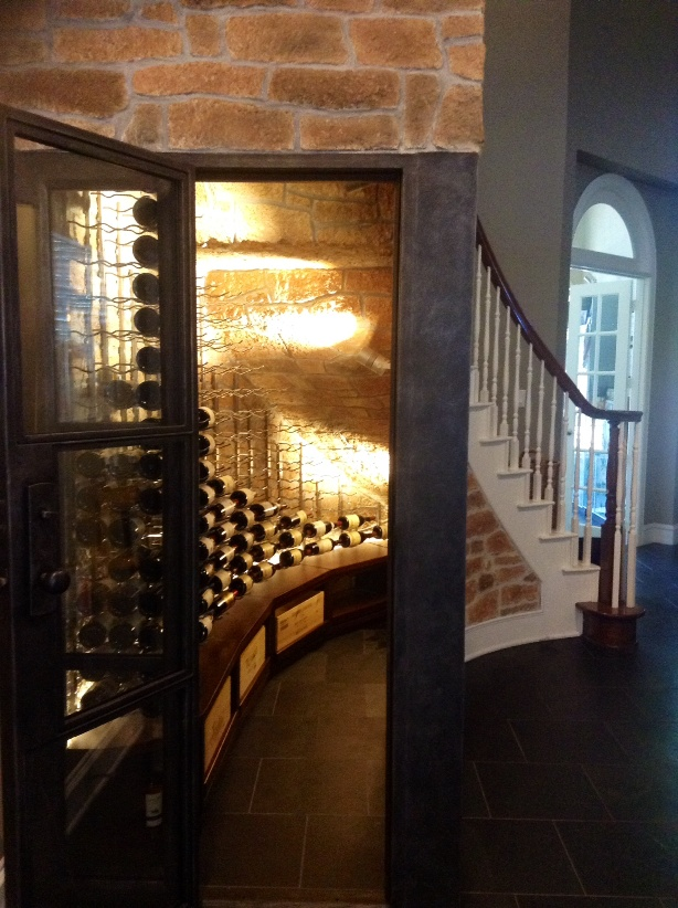 Houston Custom Home Wine Cellar with Metal Racks