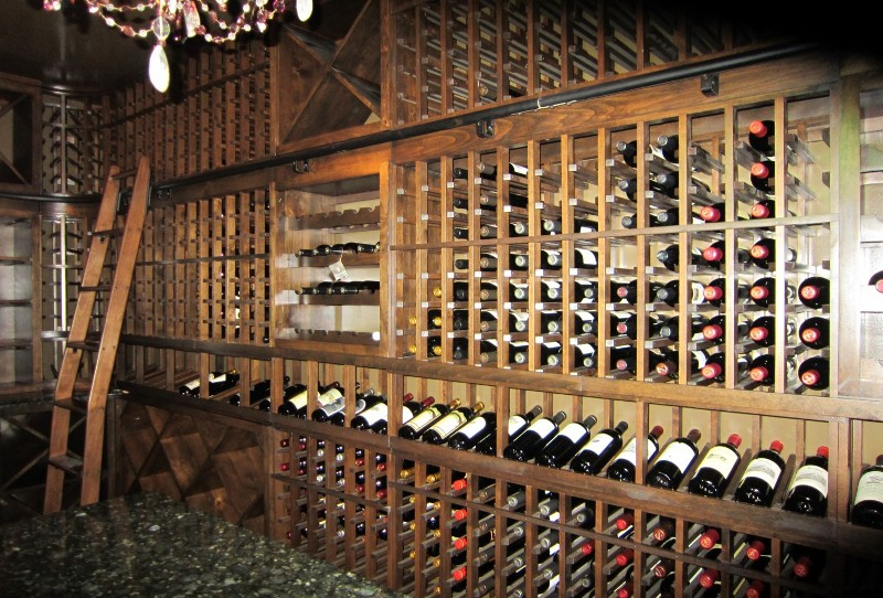 Right Wall with Bent Ladder and French Style Wine Racks