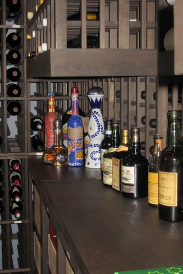 Wooden Wine Cellar Double Deep Table Top with Rusic Stain by Dallas Builders