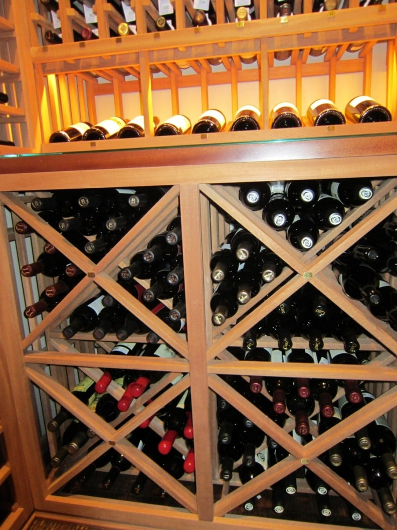Houston Wine Racks Lattice X Bins with Tabletop and Lighted Display Row